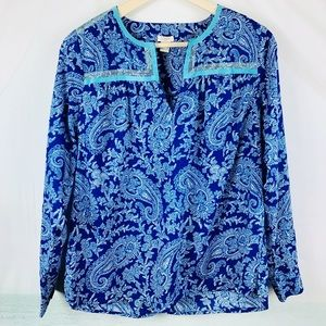J Crew Paisley Tunic Top Blue Size Small